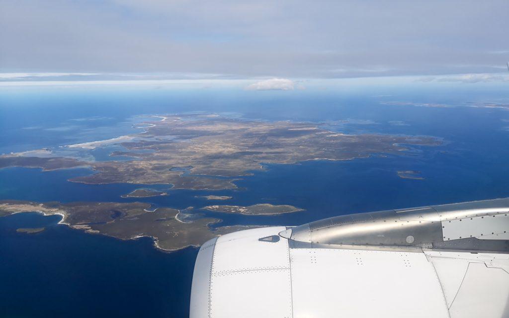 Landeanflug Falklandinseln